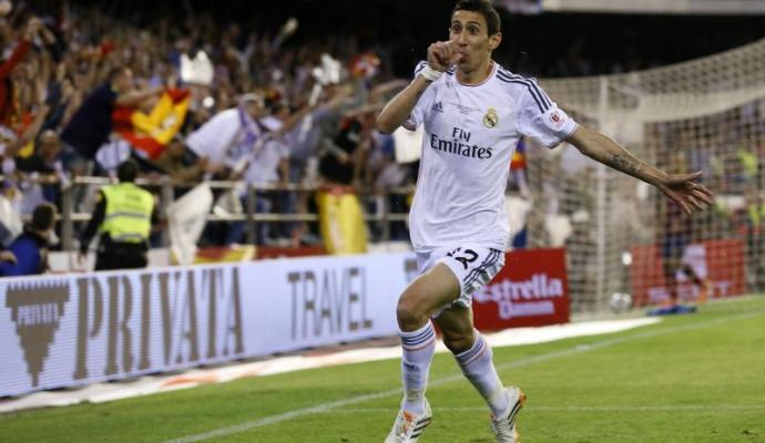 Di Maria esulta, Real Madrid-Barcellona,  Coppa del Re 2013-2014