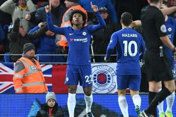 willian, chelsea, esulta, liverpool, 2017/18