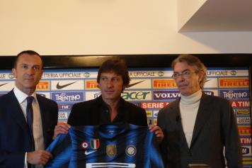 Leonardo all\'Inter con Branca e Moratti