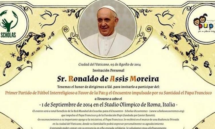 Papa Francesco convoca per la partita della pace Baggio, Eto'o, Ronaldinho, Zidane, Messi e Maradona