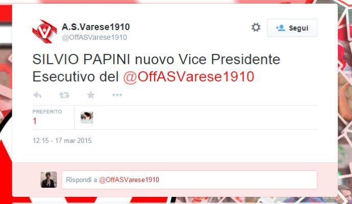 Varese, UFFICIALE: Silvio Papini nuovo vice presidente