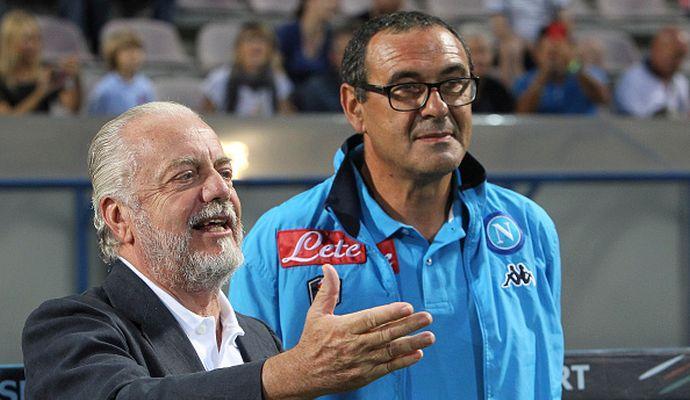 De Laurentiis: 'Mai creduto all'amore di Sarri per il Napoli. Spero vinca alla Juve quello che ha vinto qui'
