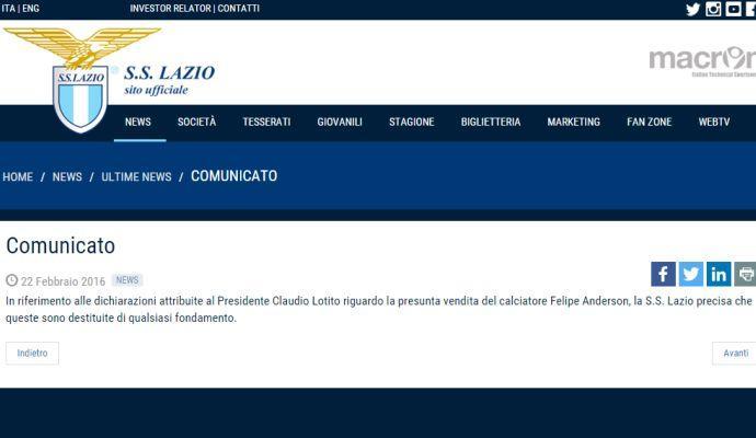 Lotito: 'Ho venduto Felipe'. Smentita Lazio, poi le conferme. Parla l'agente