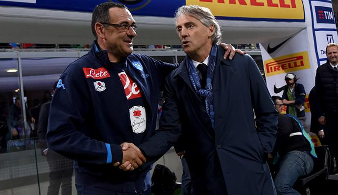 FOTO: Mancini-Sarri pace fatta e stretta di mano a San Siro