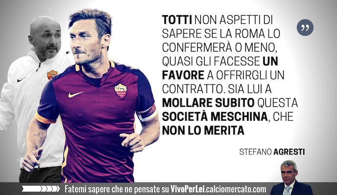 Totti vai via, questa Roma non ti merita. Trattato peggio di Del Piero e Maldini