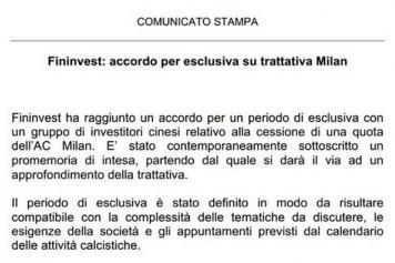 Calendario Ac Milan.Ac Milan Sale Fininvest Confirms Exclusive Negotiation