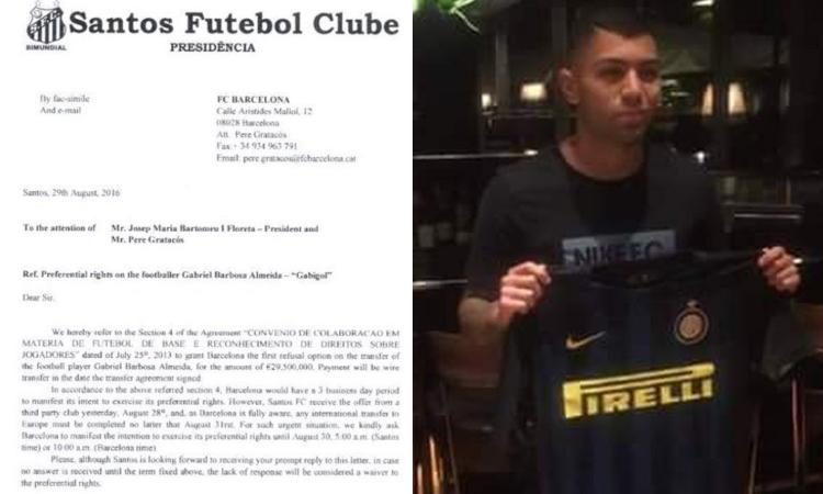 Gabigol, ecco la lettera del Santos al Barcellona: offerta da 29,5 mln  FOTO