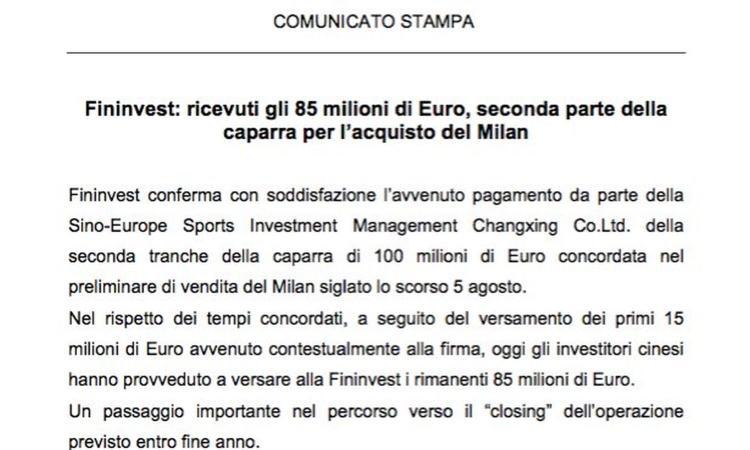MILAN, VERSATI GLI 85 MILIONI DI EURO DAI CINESI. Il comunicato: 'Pronti 350 mln per i prossimi 3 anni'