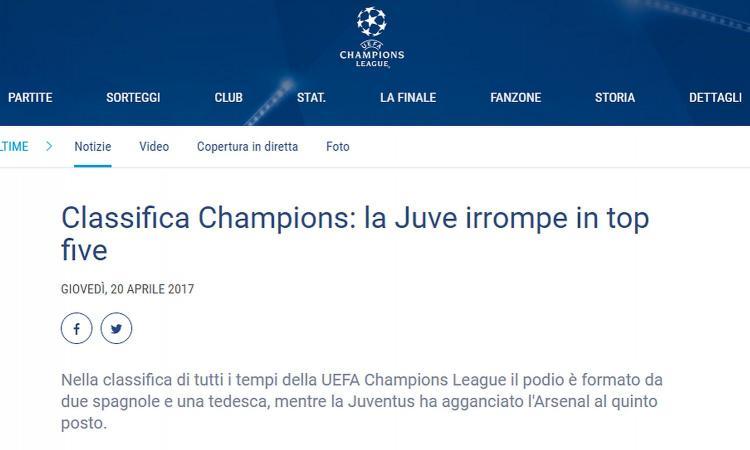 La Uefa incorona la Juventus: è nella top 5 di tutti i tempi per punti fatti in Champions League