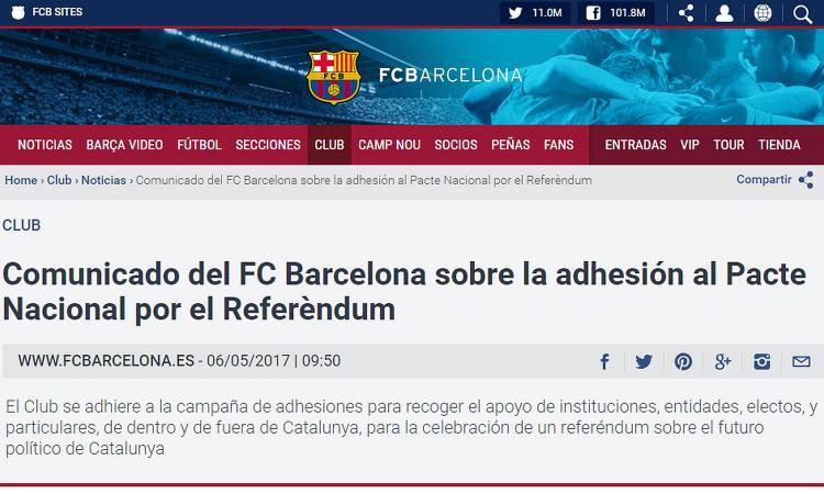 Il Barcellona si schiera e appoggia il referendum indipendentista catalano