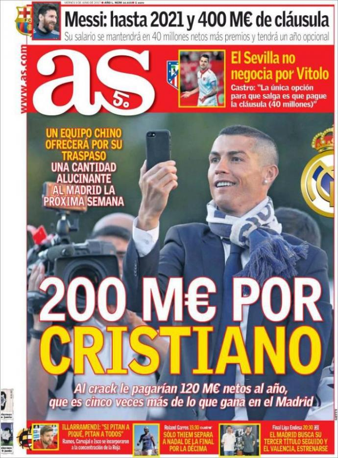 Real Madrid offered € 200 million for Cristiano Ronaldo