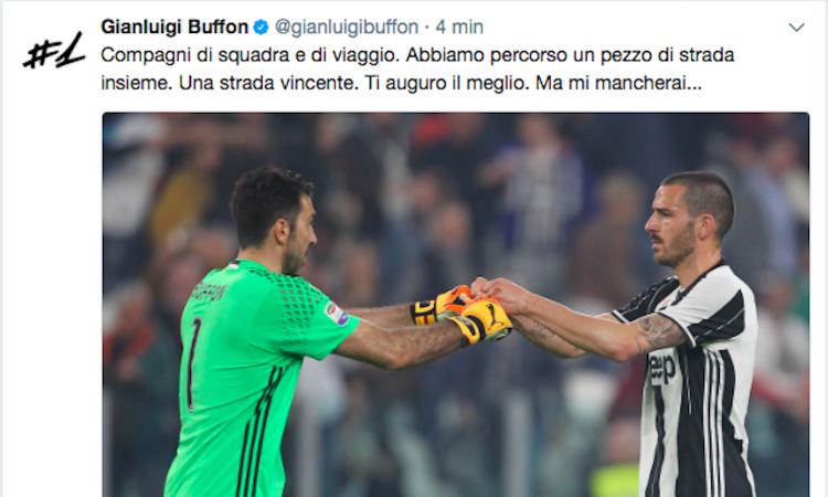 Buffon saluta Bonucci: 'Ti auguro il meglio, ma mi mancherai'. E lui risponde: 'Ci vediamo in Nazionale'