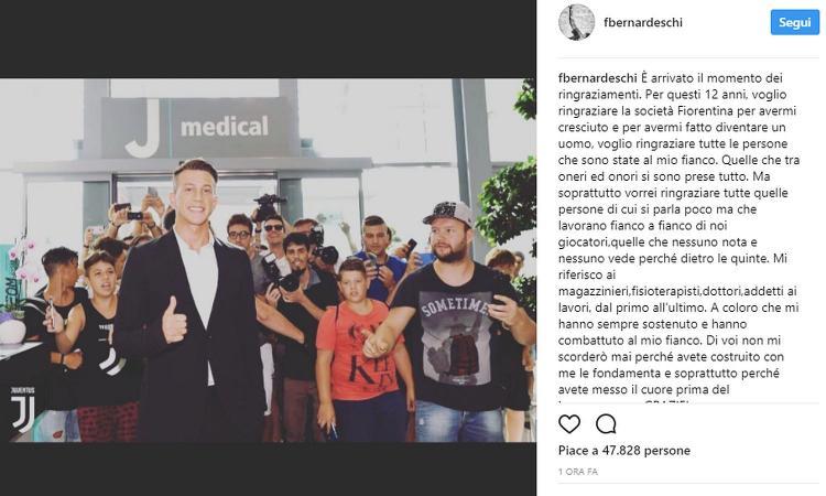 Juve, Bernardeschi: 'Grazie Fiorentina, ma inizia una nuova vita #finoallafine'