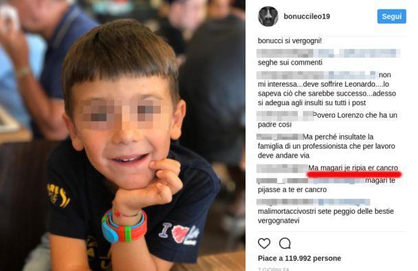 Follia 'tifosi' Juve contro il figlio di Bonucci: 'Magari gli tornasse il cancro'