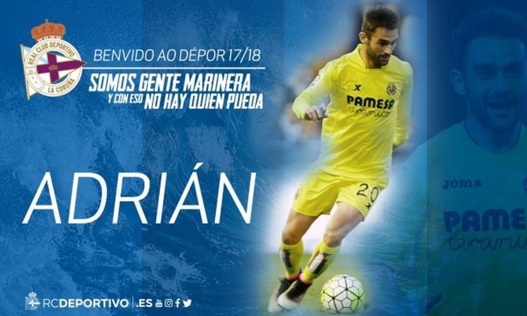 Deportivo La Coruna, UFFICIALE: preso Adrian Lopez