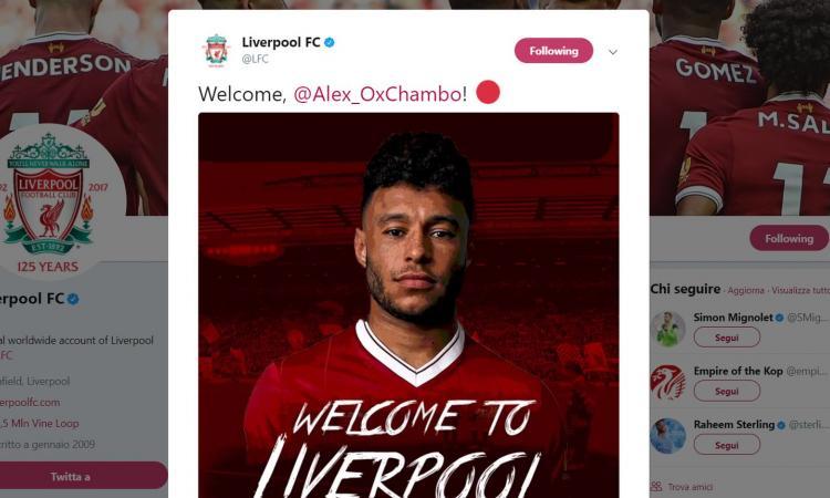 Liverpool: UFFICIALE l'arrivo di Oxlade-Chamberlain dall'Arsenal