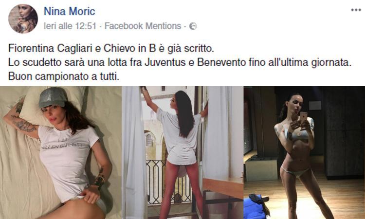 Nina Moric provocatrice: 'La Fiorentina andrà in B'. Pioggia di insulti FOTO