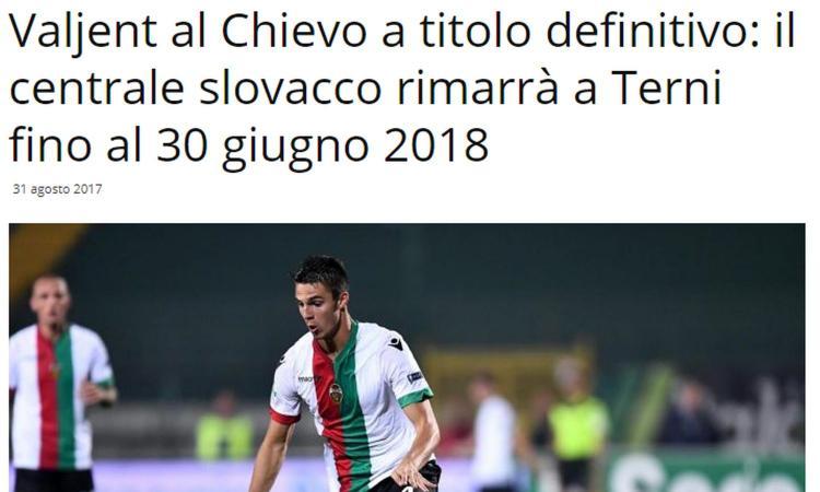 Ternana, UFFICIALE: Valjent al Chievo