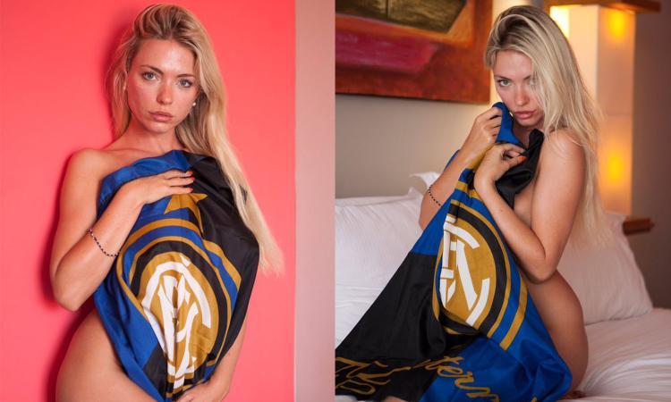 April pazza per l'Inter: nuove FOTO coperta solo dalla bandiera nerazzurra