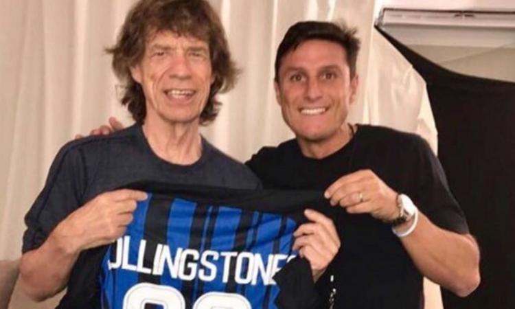 Inter, Zanetti con Mick Jagger: ironia sul derby col 'Diavolo'...