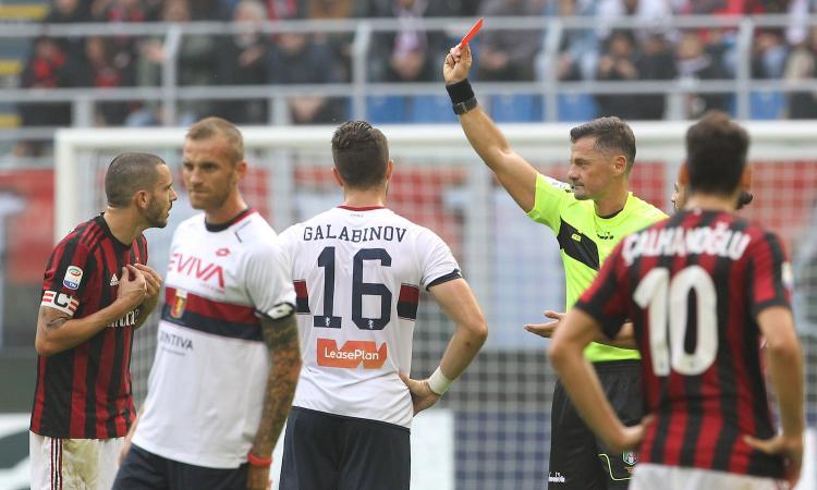 Milan, Bonucci espulso: salta la Juve