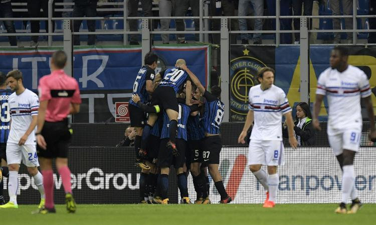 Pazza Inter: 3-2 alla Sampdoria ed è prima in classifica da sola GOL & HIGHLIGHTS