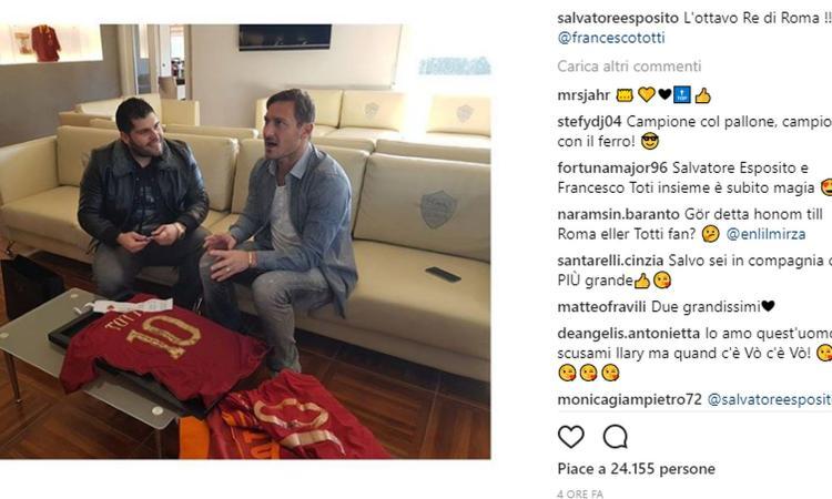 Genny Savastano fa visita a Totti: 'L'ottavo re di Roma'