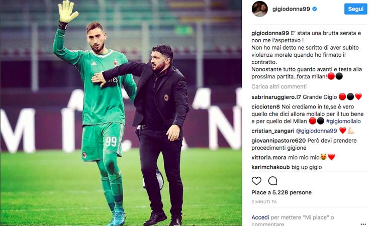 Parla Donnarumma: 'Mai subìto una violenza alla firma, forza Milan!'