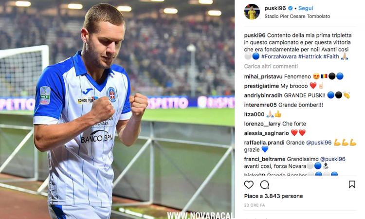 Novara, Puscas: 'Voglio fare la storia come Gonzalez. Inter? Un sogno da realizzare'