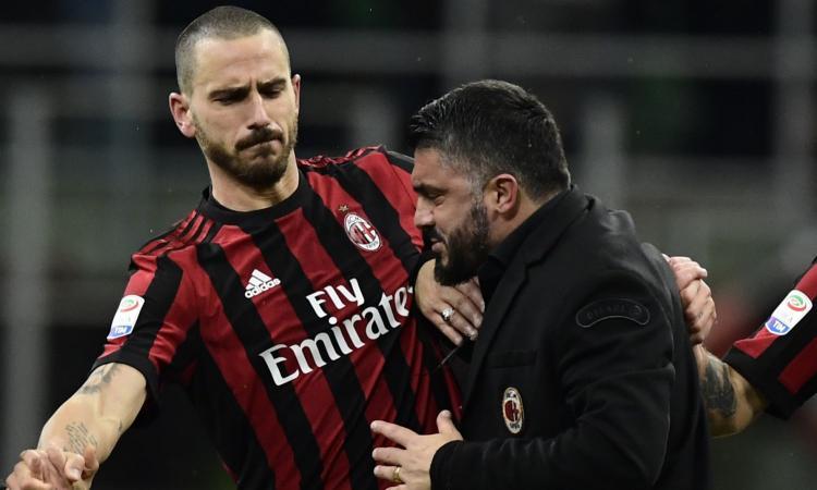 Milan, Bonucci: 'Ho pensato a chi me l'aveva fatto fare. Gattuso come Conte'