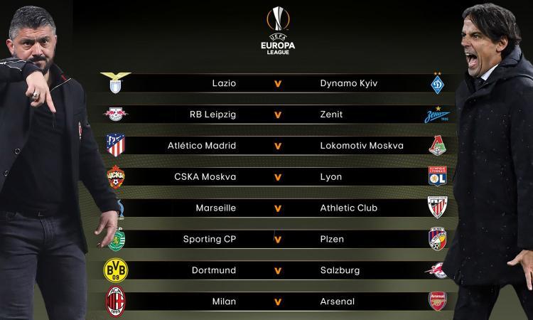Europa League, il sorteggio degli ottavi: Lazio-Dinamo Kiev e Milan-Arsenal