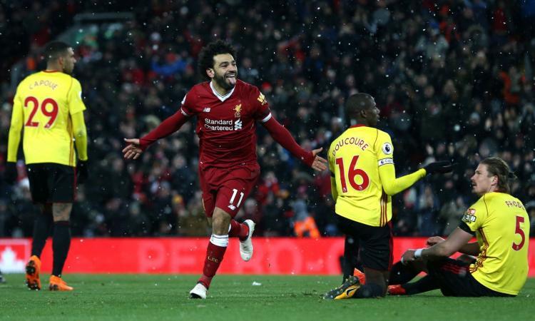 Premier, il Liverpool ne fa 5 al Watford: poker di Salah, a 28 gol in campionato