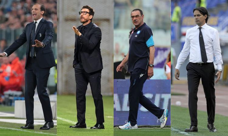 ALLENATORI, LE PAGELLE: Allegri 9, Inzaghi e Di Francesco 8,5. Sarri da 6,5, Spalletti anche. Bocciati: c'è Zenga