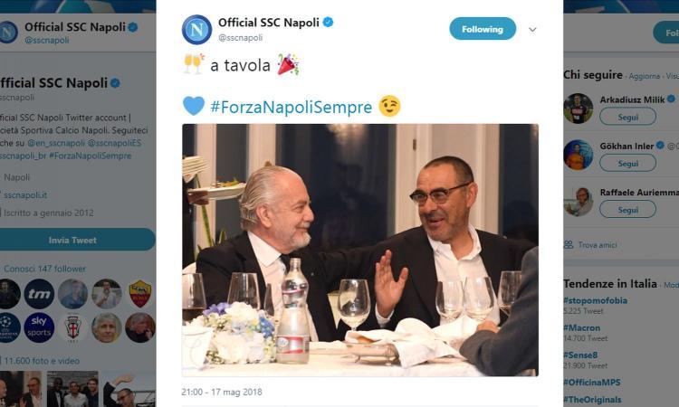 Napoli a cena, i tifosi chiedono a Sarri di restare. De Laurentiis: 'Autore e scultore della Grande Bellezza'
