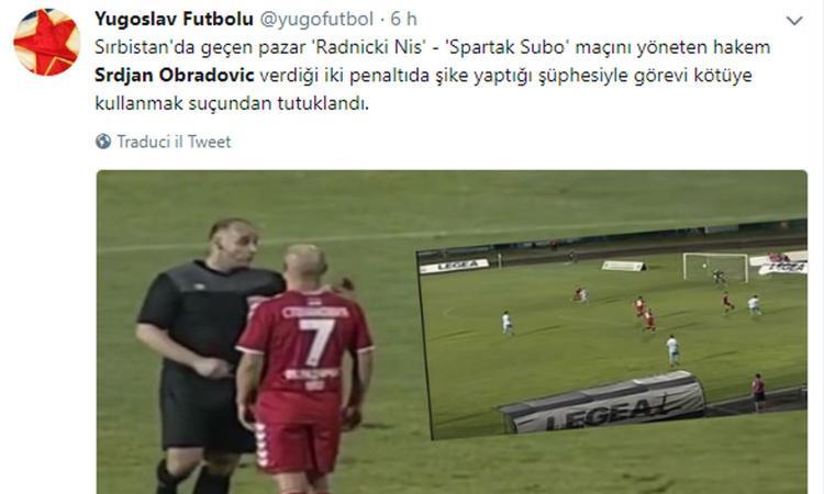 Serbia: fischia un rigore inesistente, arrestato l'arbitro Obradovic