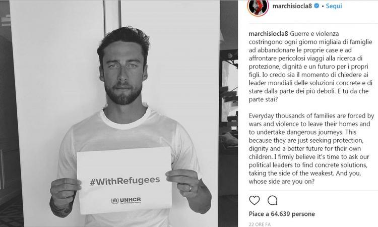Marchisio pro rifugiati, polemiche sui social
