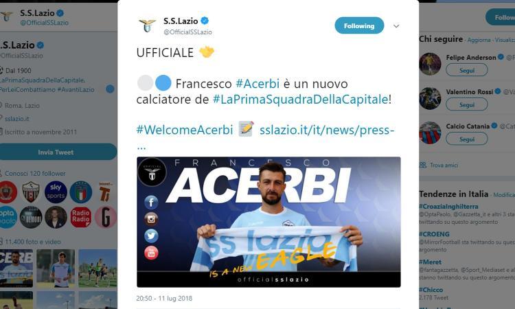 Lazio, UFFICIALE: preso Acerbi