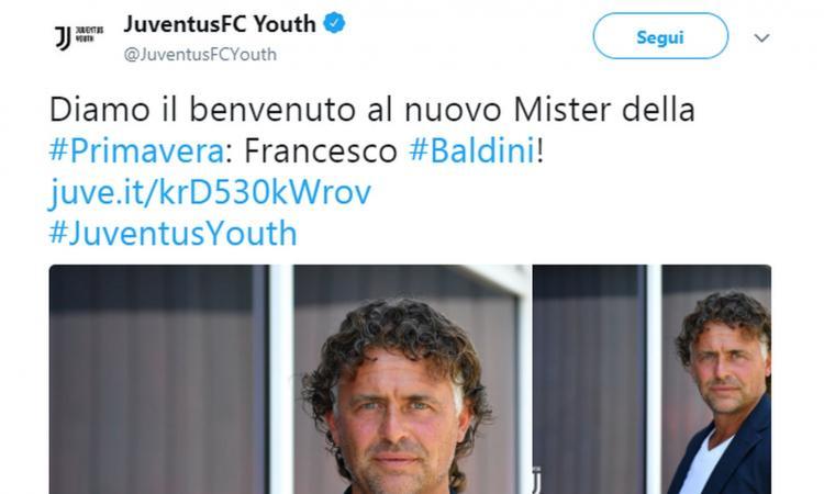 Juventus, UFFICIALE: Baldini nuovo allenatore della Primavera