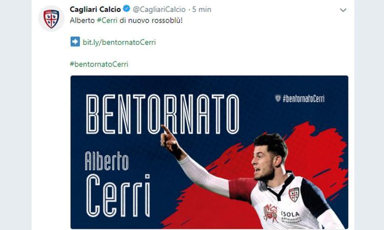 Cerri al Cagliari: 'Barella e Cragno tra i primi a chiamarmi'