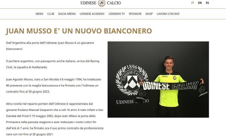 Udinese, UFFICIALE: preso il portiere Musso