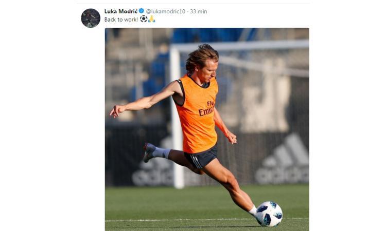 Inter, guarda Modric 'tornato al lavoro' con il Real Madrid FOTO