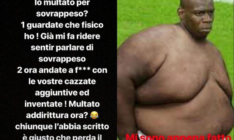 Balotelli si sfoga: 'Io sovrappeso? Mi fate ridere, andate a f.....o!'