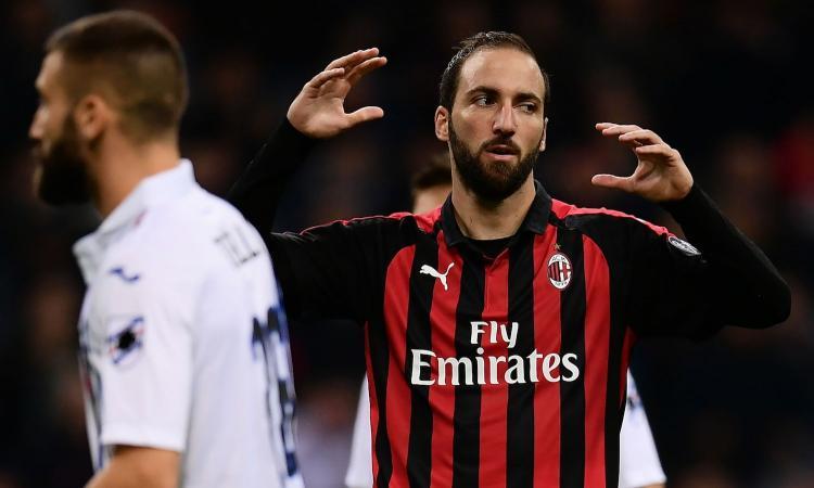 Milan, con la Juve Higuain non ha mai segnato contro l'Udinese