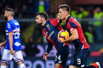 Piatek Genoa derby esultanza