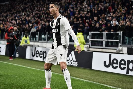 Ronaldo Celebrates Goal V Spal With The Juventus Fans