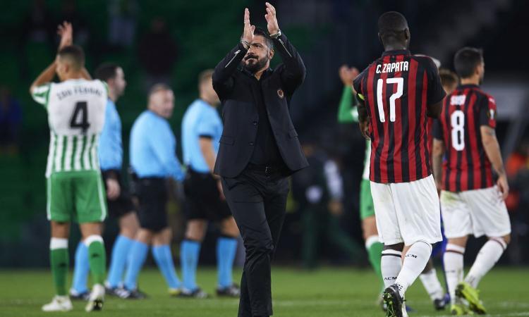 Milan, Gattuso fa il massimo. Ma il pareggio col Betis può non bastare
