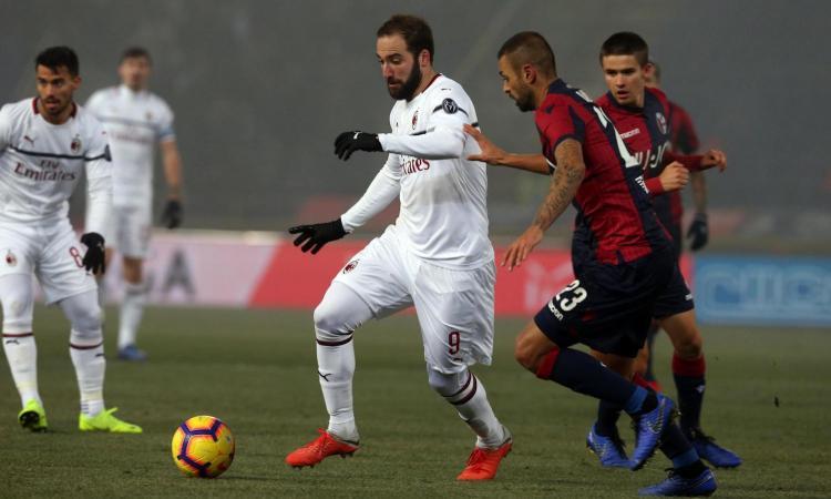 Milan, Higuain: 32 tiri verso la porta tra Olympiacos e Bologna, 0 gol