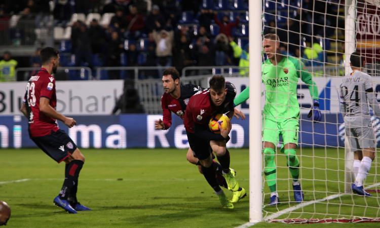 La Roma si butta via ancora: da 2-0 a 2-2 contro il Cagliari in nove