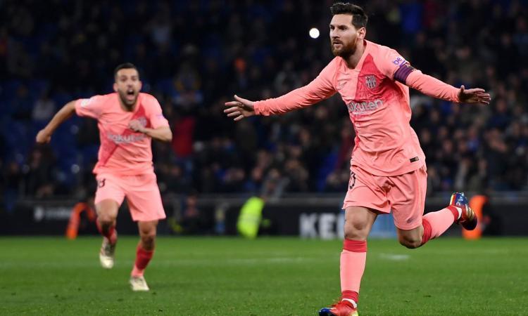 Tris Atletico Madrid, segna Kalinic. Messi show, Espanyol-Barcellona 0-4