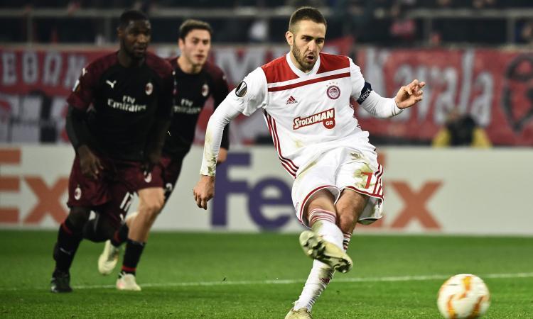 Olympiacos-Milan 3-1: rigore inventato, rossoneri fuori dall'Europa